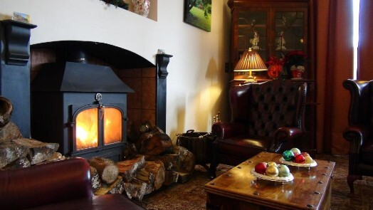 The cosy log burner in the Nicolini Lounge at Craig y Nos Castle