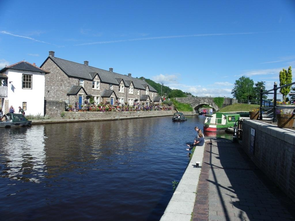 Brecon Canal and tow path in Brecon town