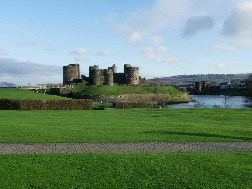 Caerphilly Castle and moat