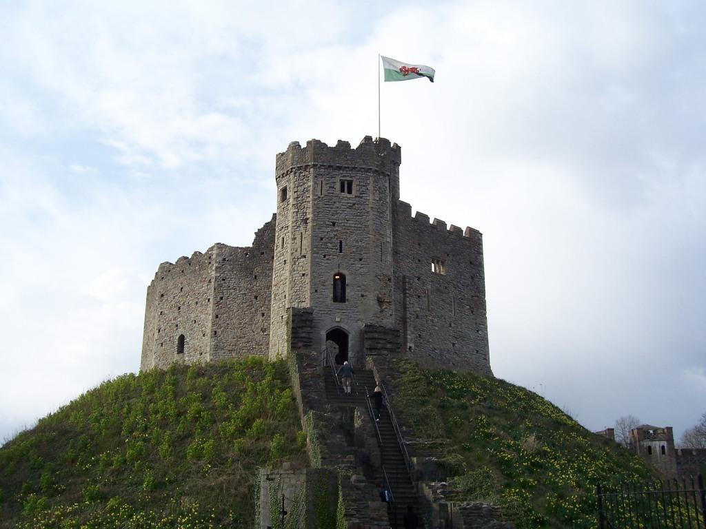Cardiff Castle's Prison Tower on hill