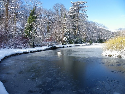 Craig y Nos Country Park boating lake in winter snow and ice