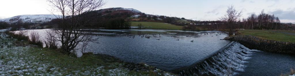 Dare Valley Country Park in Winter lake and weir
