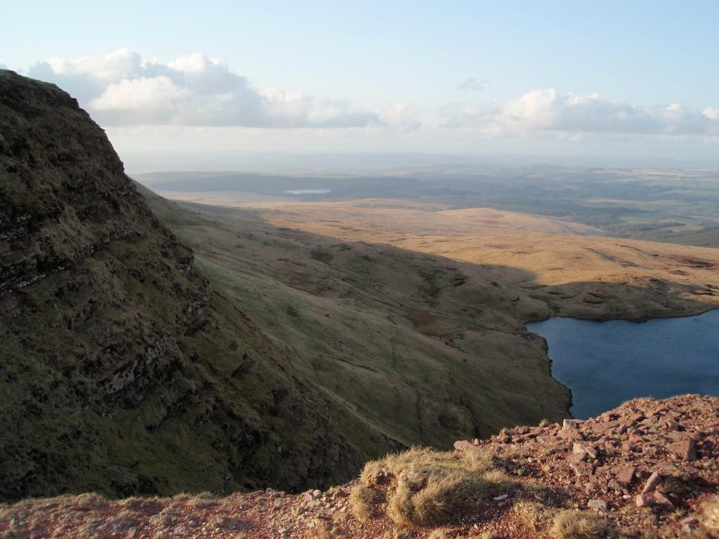 Dog Friendly Accommodation Brecon Mountain Walk view of Lady of the Lake from mountain above