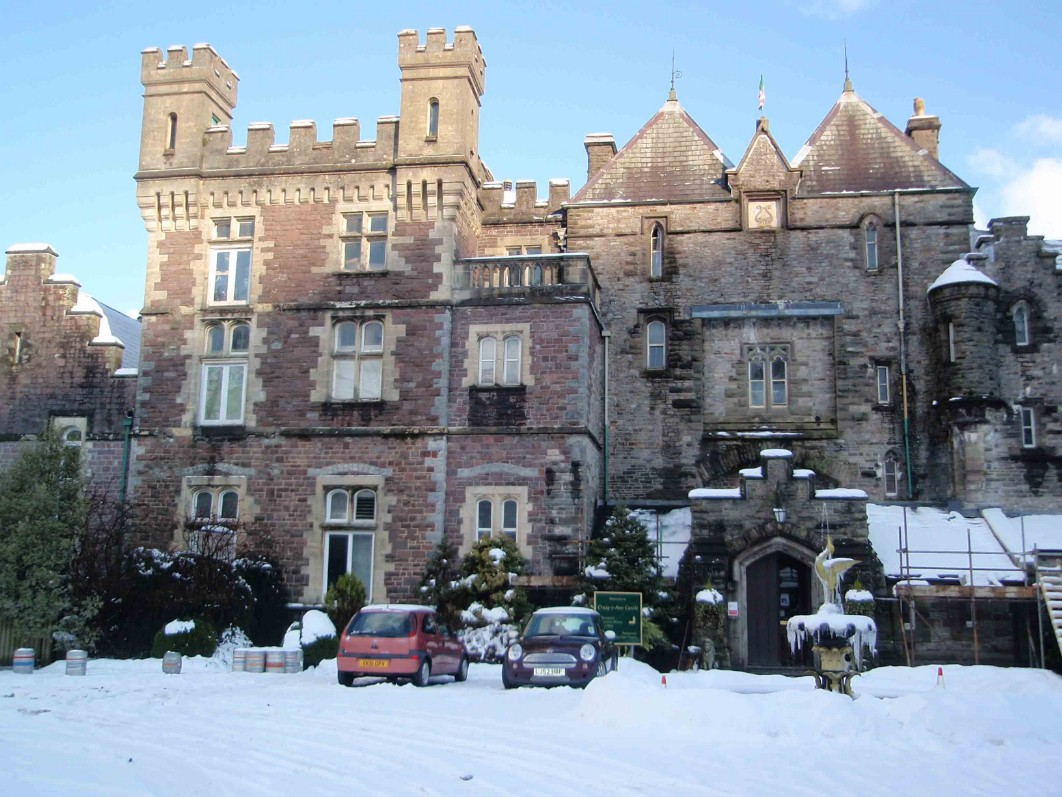 Dog Friendly Hotel Wales, Craig y Nos Castle courtyard and frontage in snow