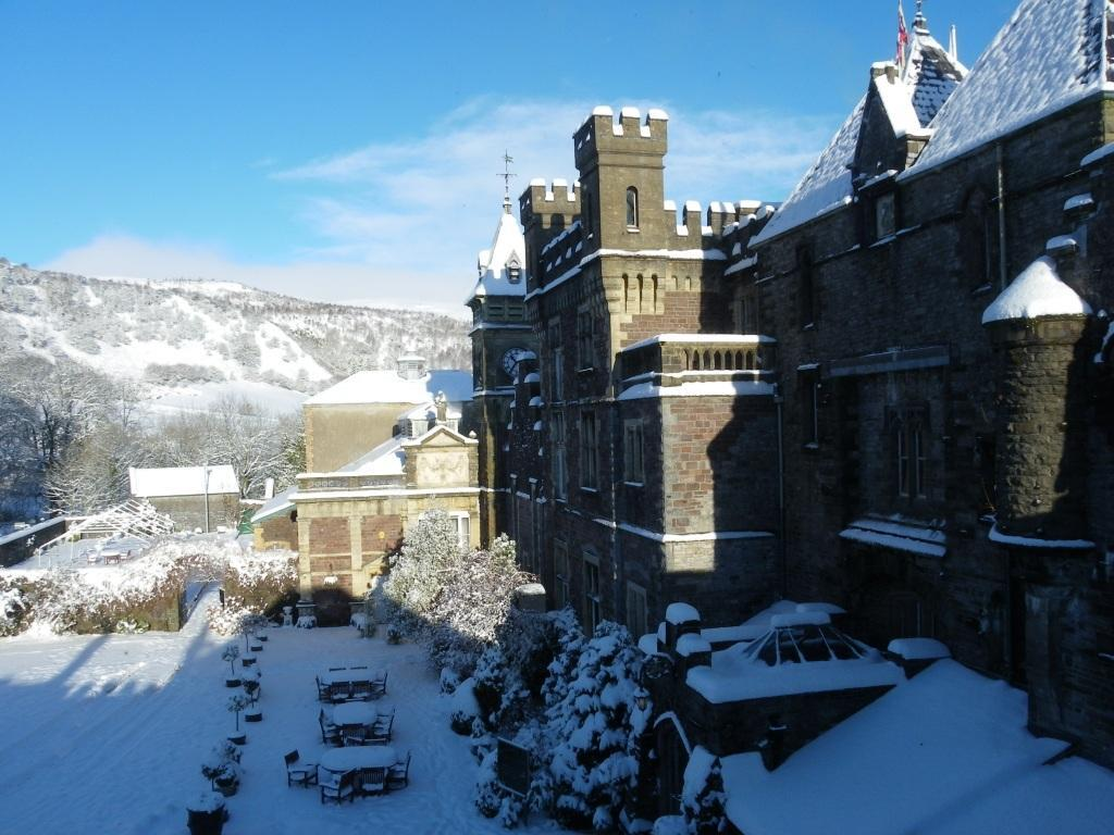 Dog Friendly Hotel Wales, Craig y Nos Castle in thick snow