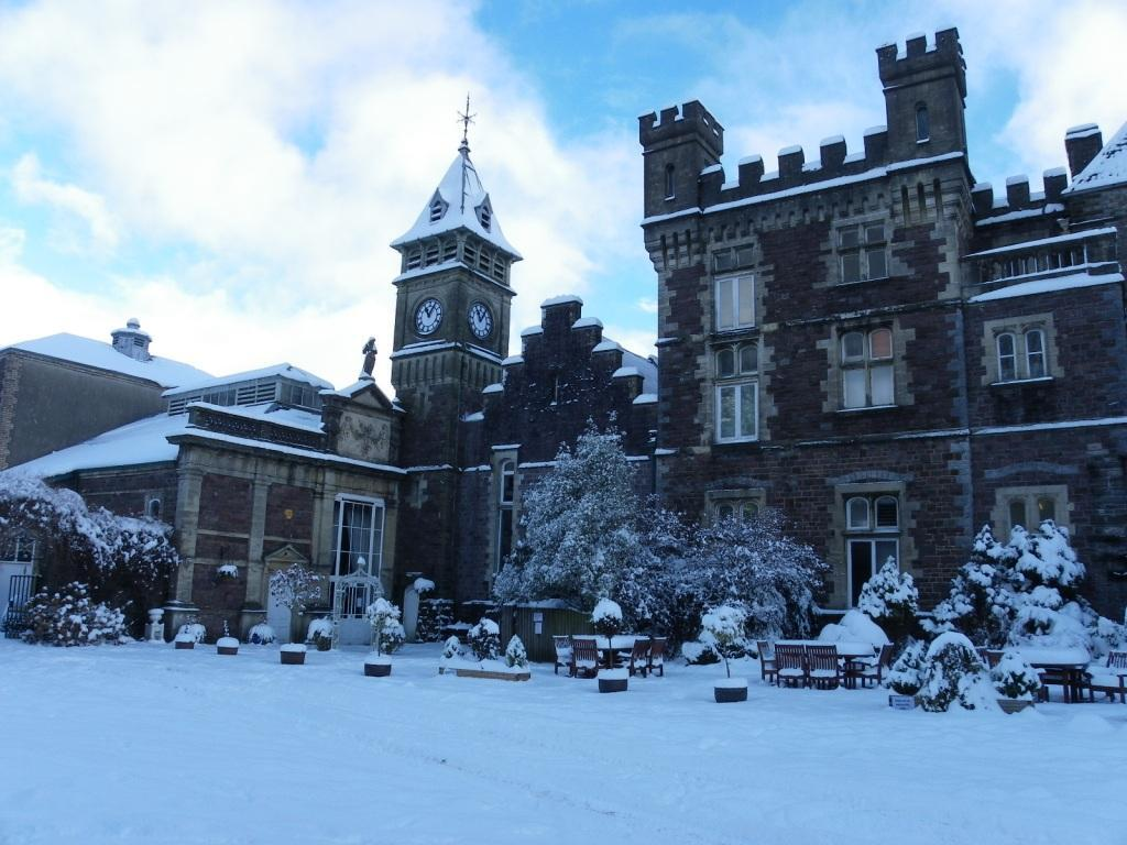 Dog Friendly Craig y Nos Castle theatre and clocktower in snow