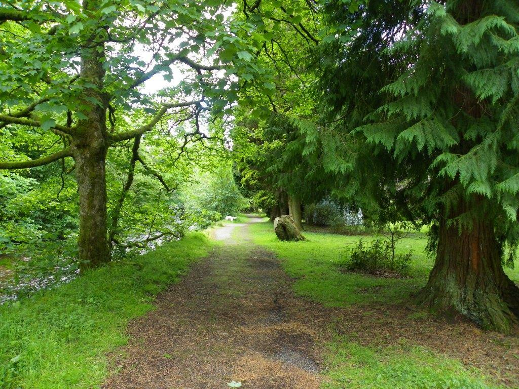 Dog Friendly Hotel in Brecon Craig y Nos Castle Lower Garden path by the River Tawe