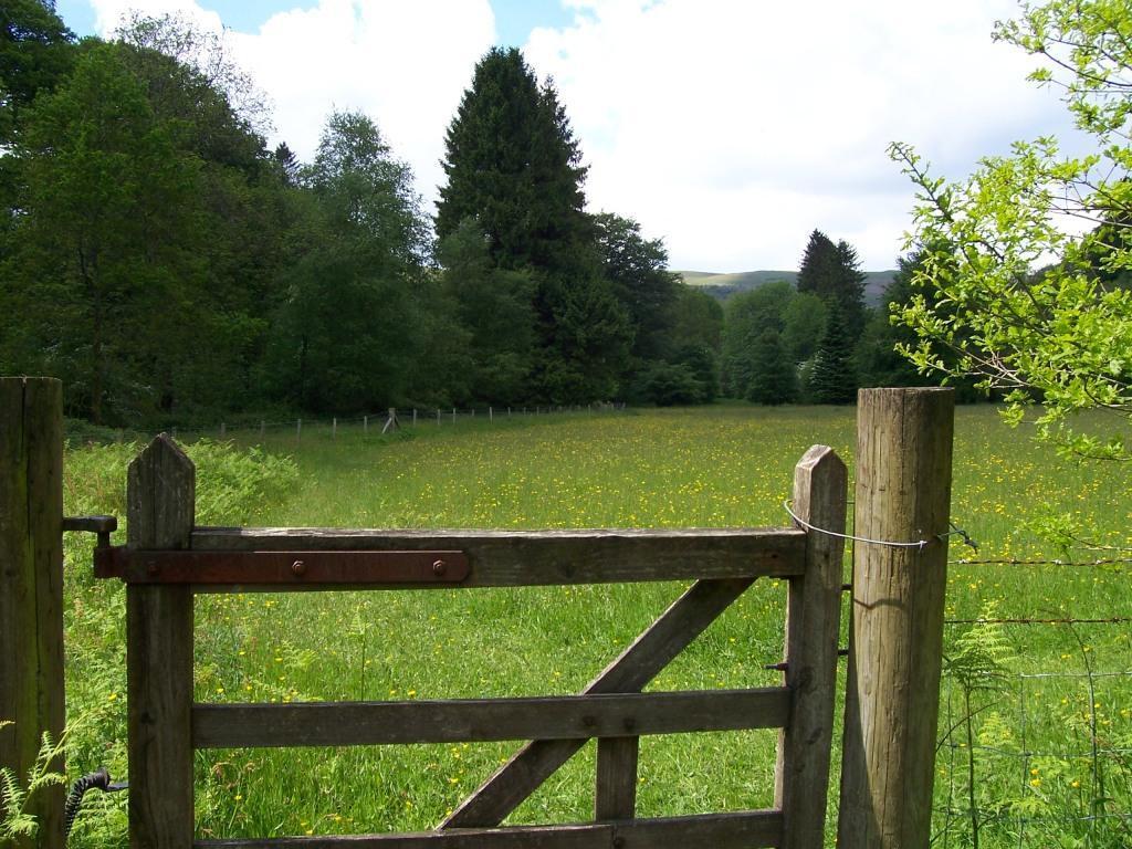 Dog Friendly Holidays Brecon Wales Craig y Nos Country Park walker's gate to hay meadow field