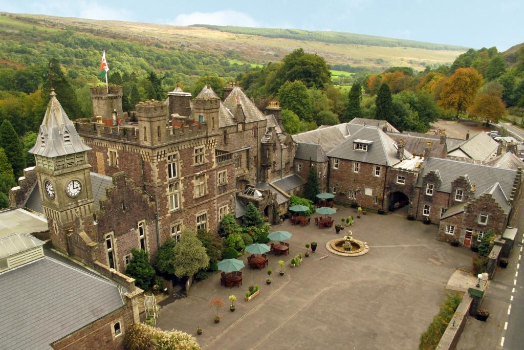 Dog Friendly Hotel Wales, Craig y Nos Castle Aerial Photograph of Castle and front courtyard and atrium buildings