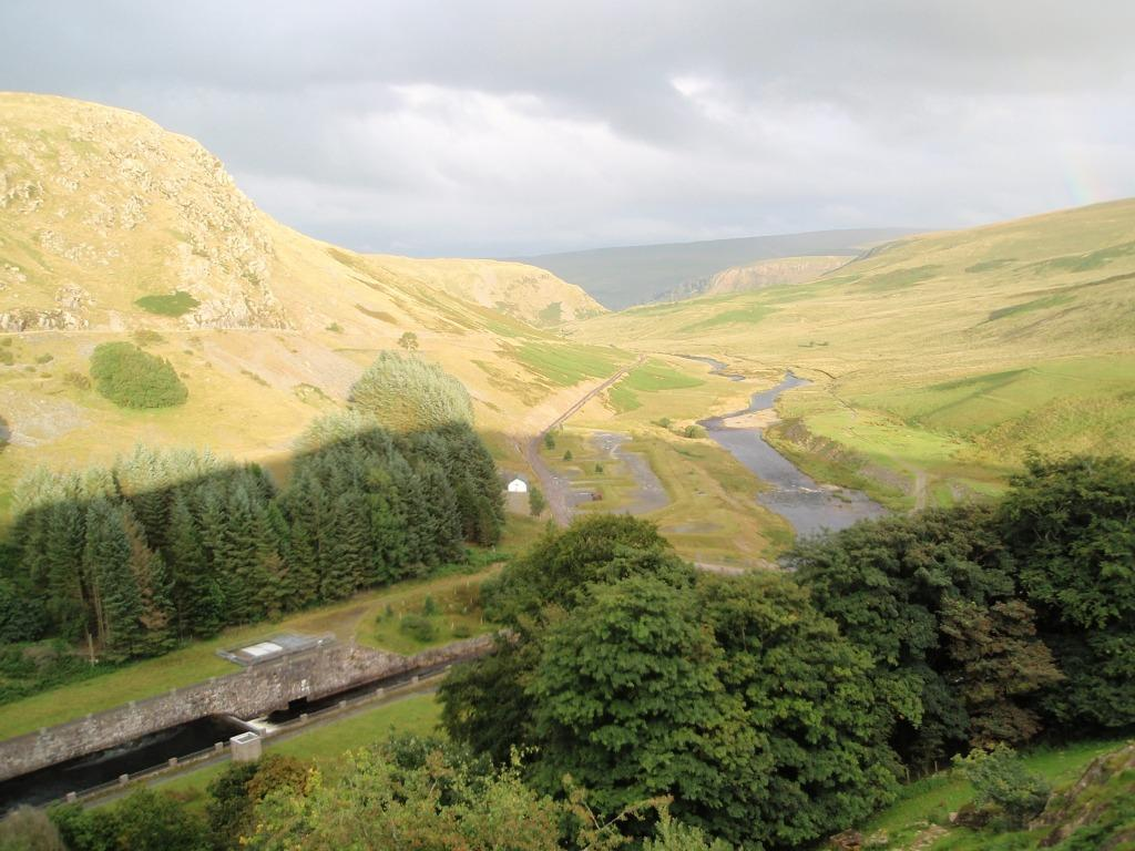 Claerwen Reservoir valley as seen from the dam