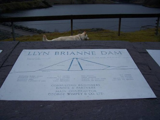 Dog friendly accommodation Wales - Llyn Brianne Reservoir sign and dog walk