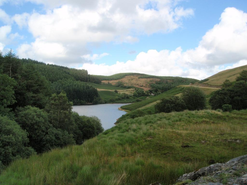 Llyn Brianne Reservoir surrounded by mountain scenery