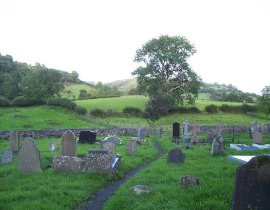 Dog Friendly B&B Wales - a dog's visit to Talley Abbey graveyard with views of valley