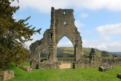 Dog Friendly B&B Wales - a dog's visit to Talley Abbey, the old abbey ruins and old Talley Abbey arch