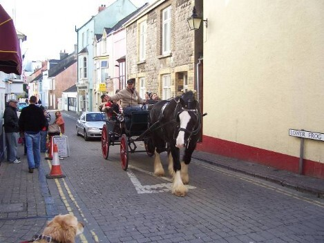 Dog Friendly B&B Wales - a dog's day out in Tenby showing horse drawn carriage in Tenby town centre
