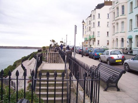 Dog Friendly B&B Wales - a dog's day out in Tenby showing the promenade of hotels at Tenby town