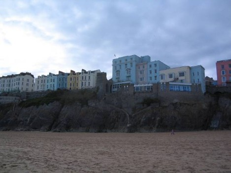 Dog Friendly B&B Wales - a dog's day out in Tenby, looking from sandy beach to the promenade of hotels at Tenby