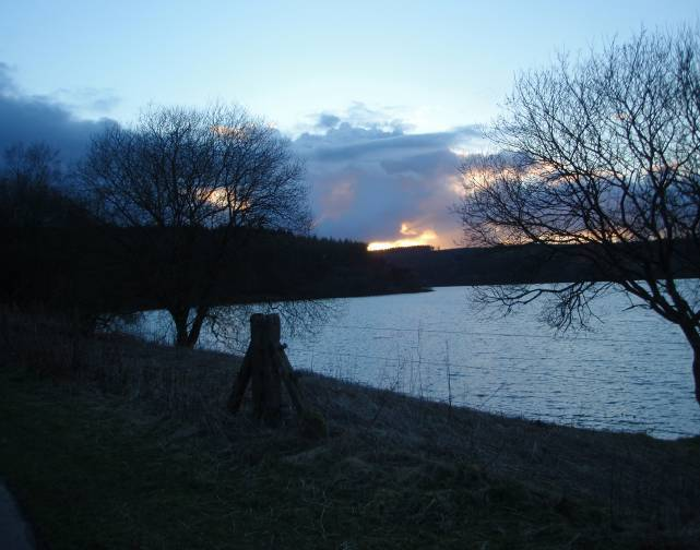 Dog friendly B&B Wales - Usk Reservoir dog Walk evening sky at night